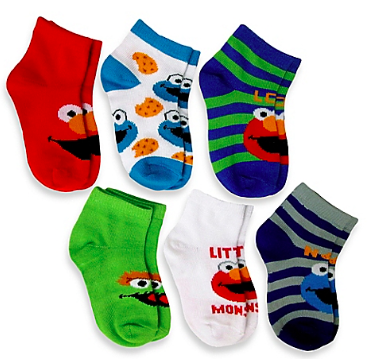 6Pack Elmo Boys Quarter Socks